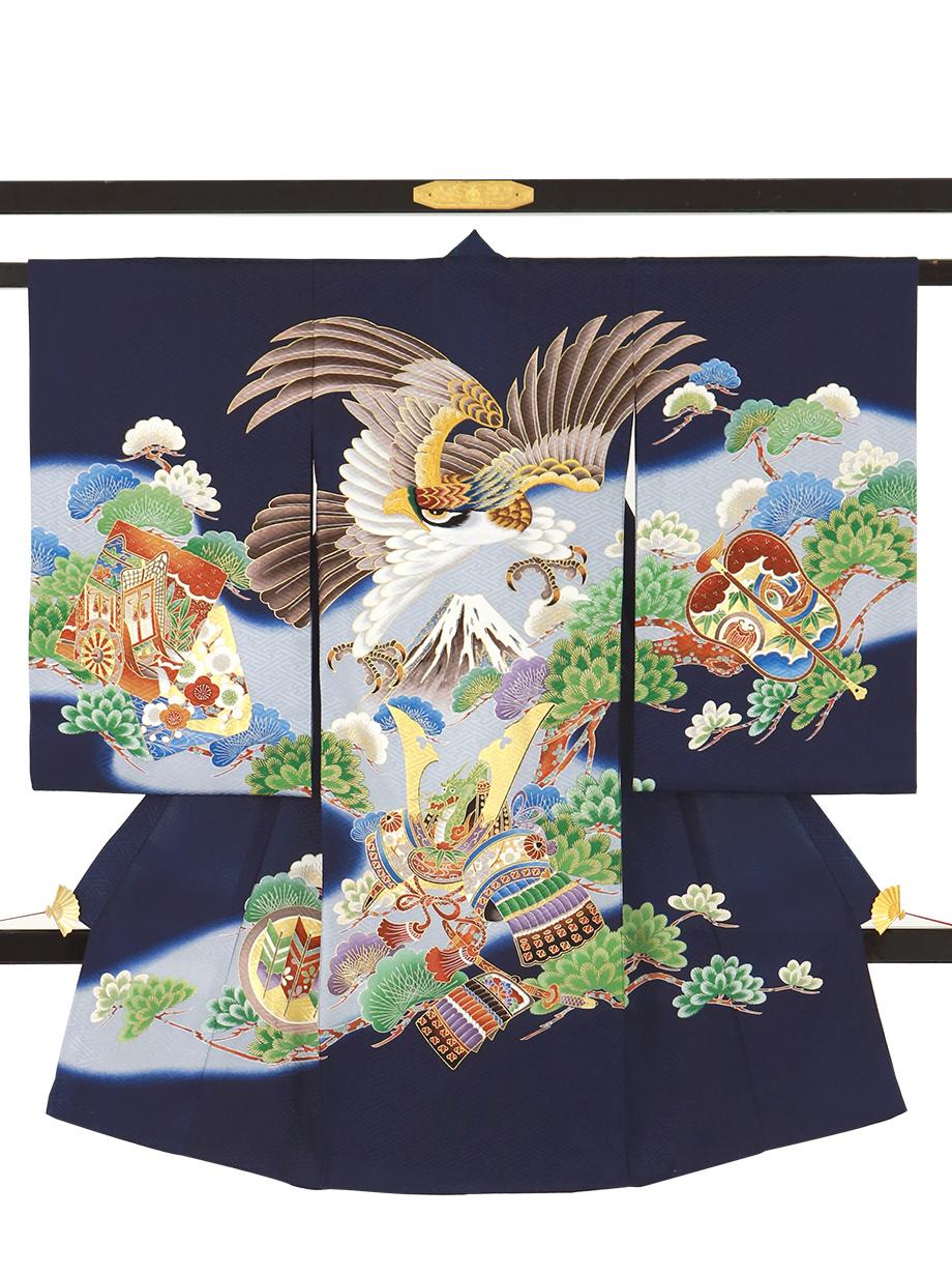 紺地に鷹と富士山に松の祝い着(産着)/男児