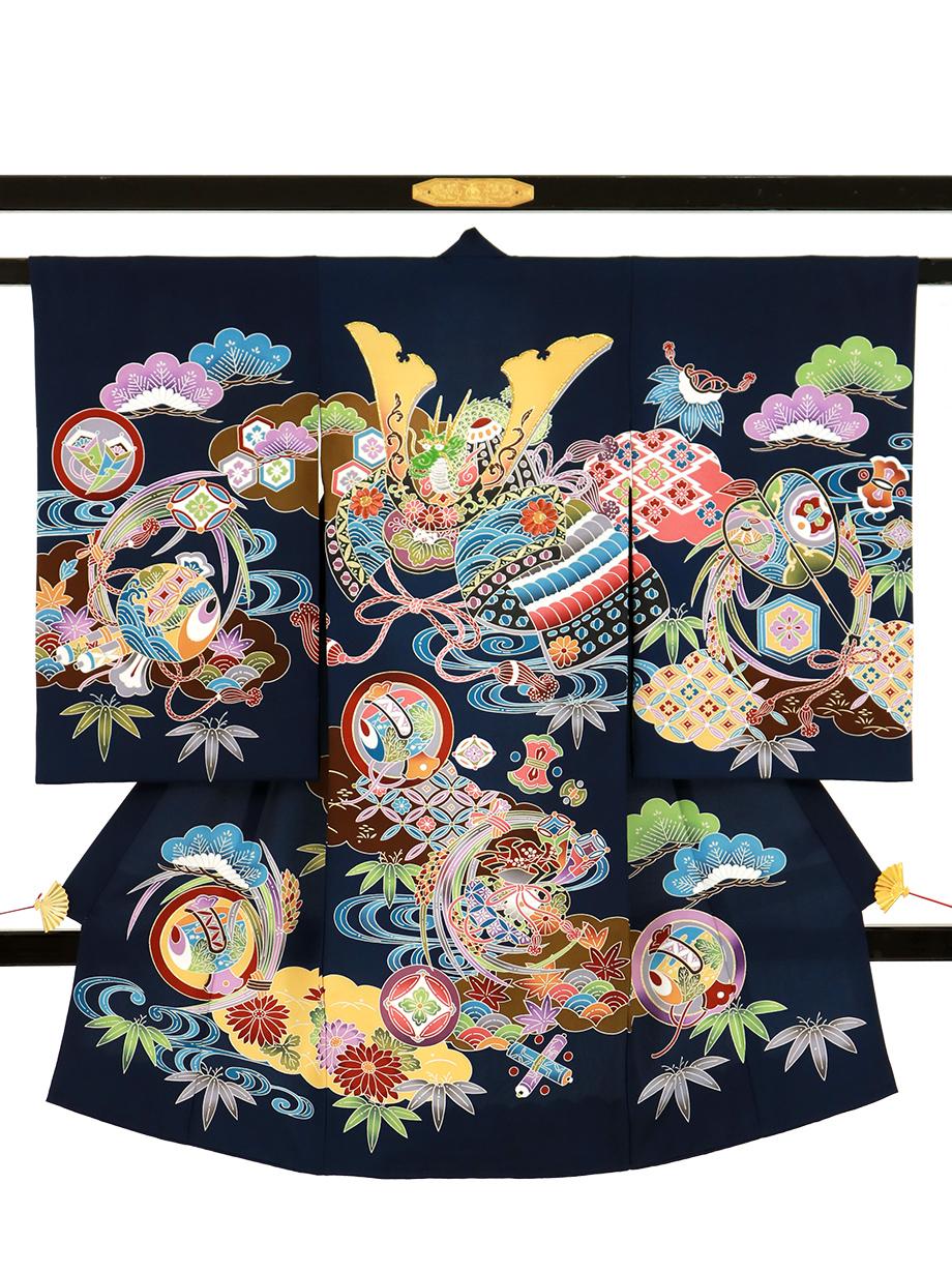 紺地に紅型風の兜の祝い着(産着)/男児