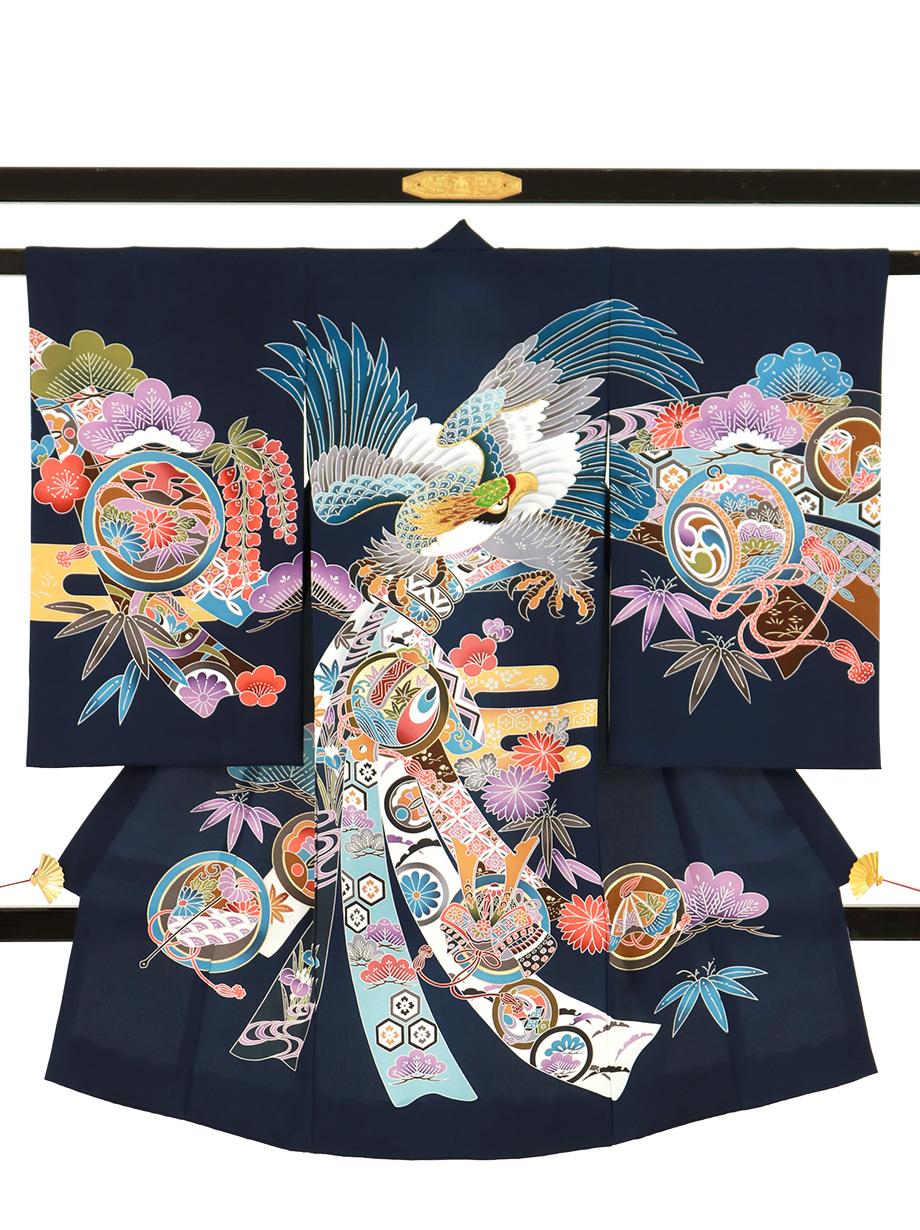 紺地に紅型風の鷹と束ね熨斗の祝い着(産着)/男児