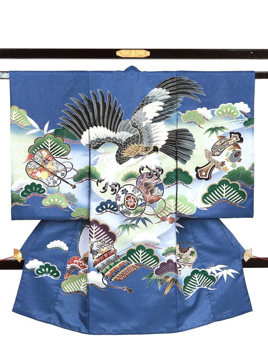 縹色地に鷹と鼓、松の祝い着(産着)/男児(ポリエステル)