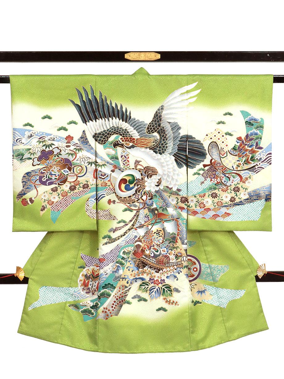 黄緑地鷹と束ね熨斗、宝船の祝い着(産着)/男児(ポリエステル)