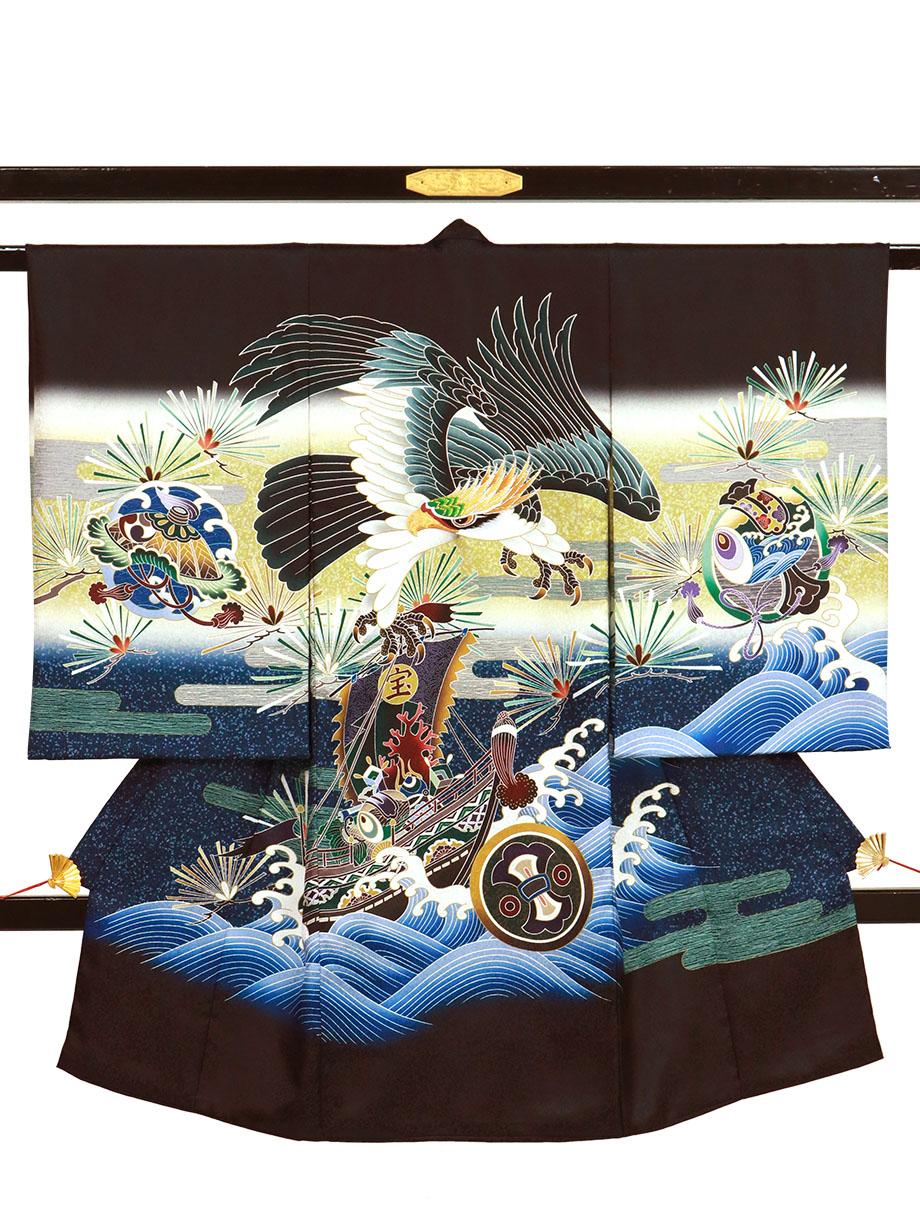 黒地に鷹と宝船、ヱ霞の祝い着(産着)/男児