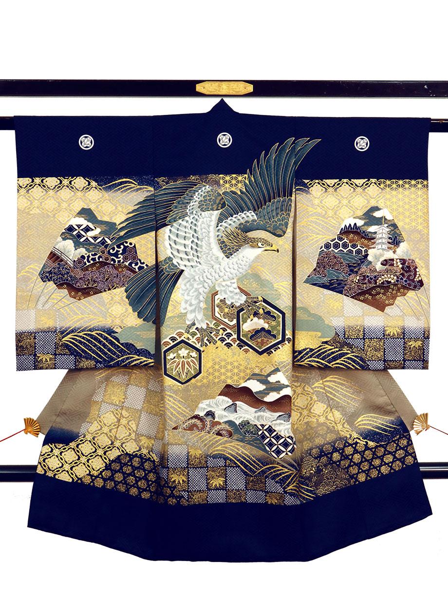 紺地に鷹と亀甲、波の祝い着(産着)/男児