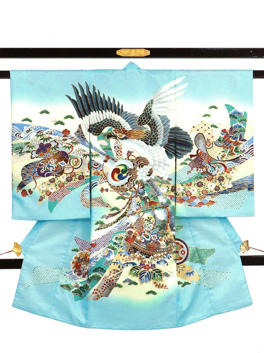 水色地に鷹と束ね熨斗、宝船の祝い着(産着)/男児(ポリエステル)