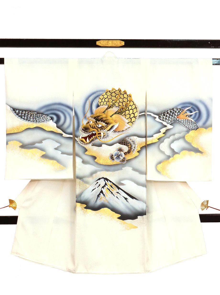 白地に龍と富士山の祝い着(産着)/男児