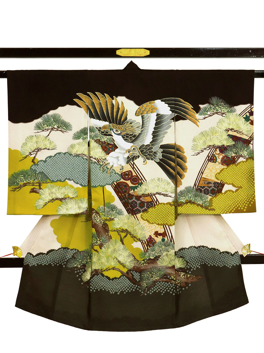 黒地に鷹と橋の祝い着(産着)/男児