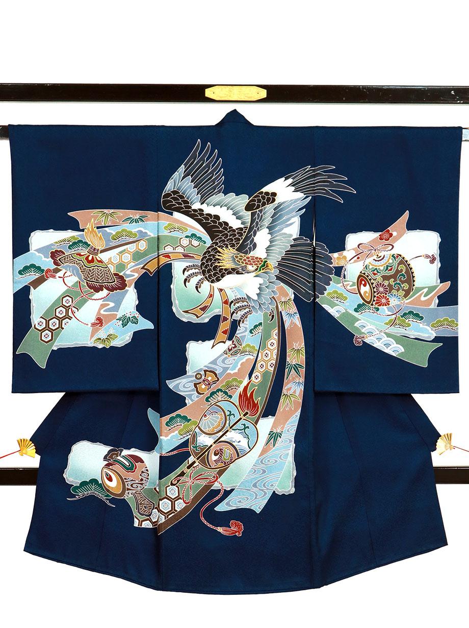 紫紺地に鷹と軍配、熨斗の祝い着(産着)/男児