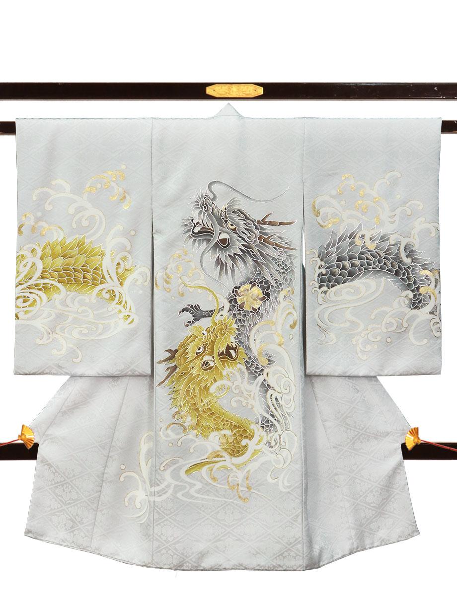 シルバー色に金と銀の昇り龍の祝い着(産着)/男児