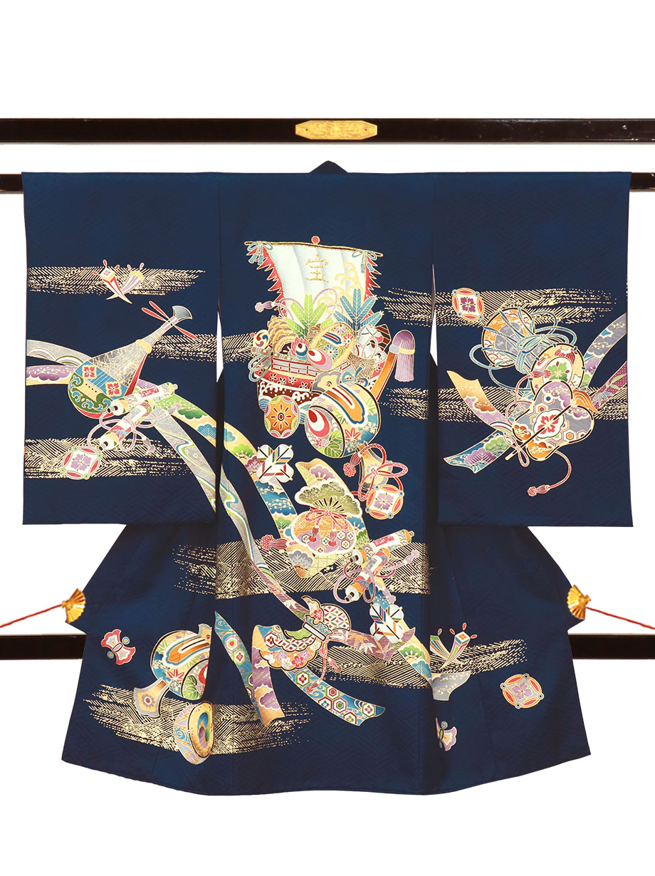 紺地に宝船と小槌の祝い着(産着)/男児