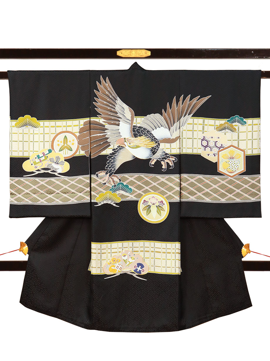 黒地に鷹と鎌倉紋、格子柄の祝い着(産着)/男児