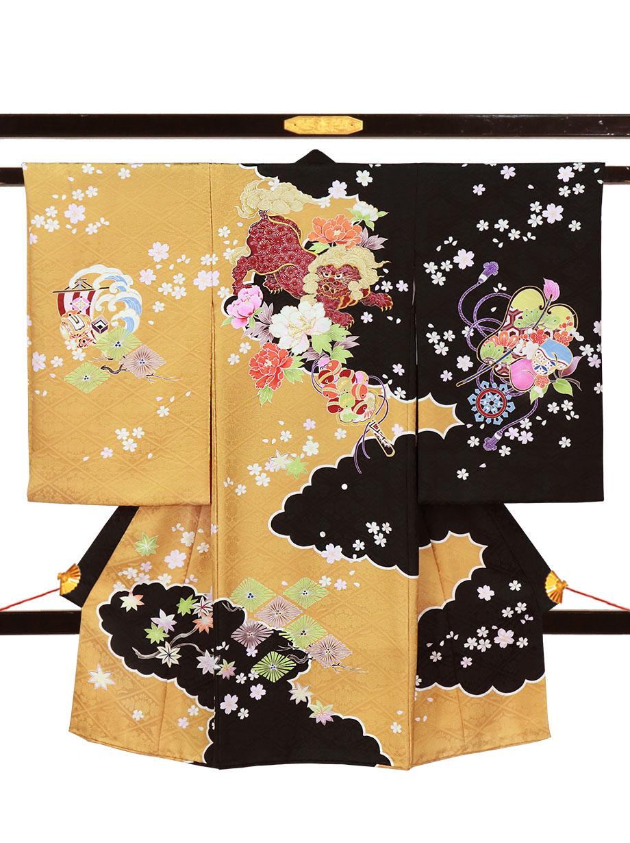 芥子と黒地に狛犬と牡丹、桜の祝い着(産着)/男児