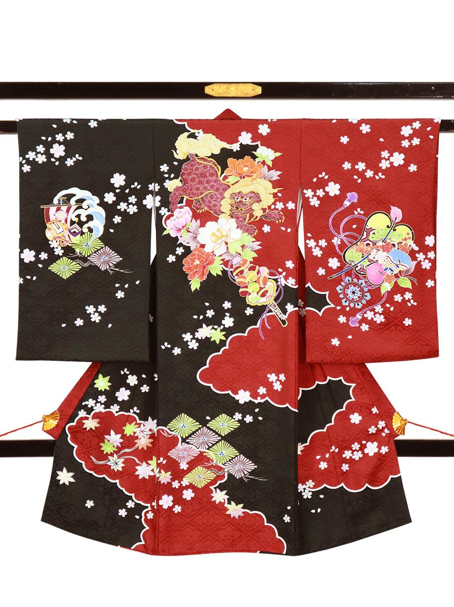 赤と黒地に狛犬と牡丹、桜の祝い着(産着)/男児