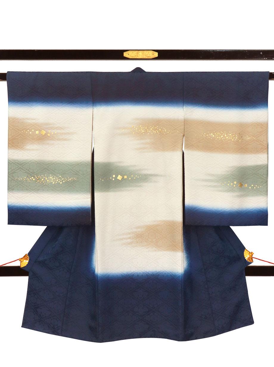 紺地に霞の祝い着(産着)/男児