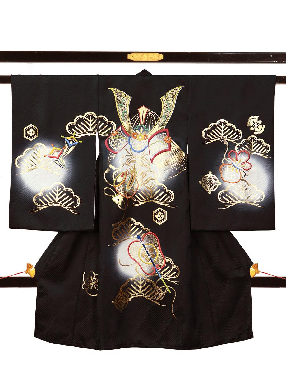 黒地に兜と打ち出の小槌に軍配の祝い着(産着)/男児