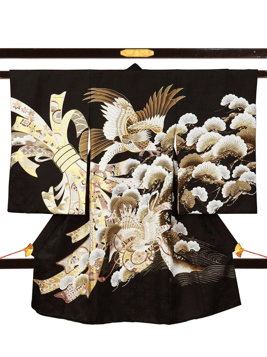 黒地に鷹と束ね熨斗、松の祝い着(産着)/男児