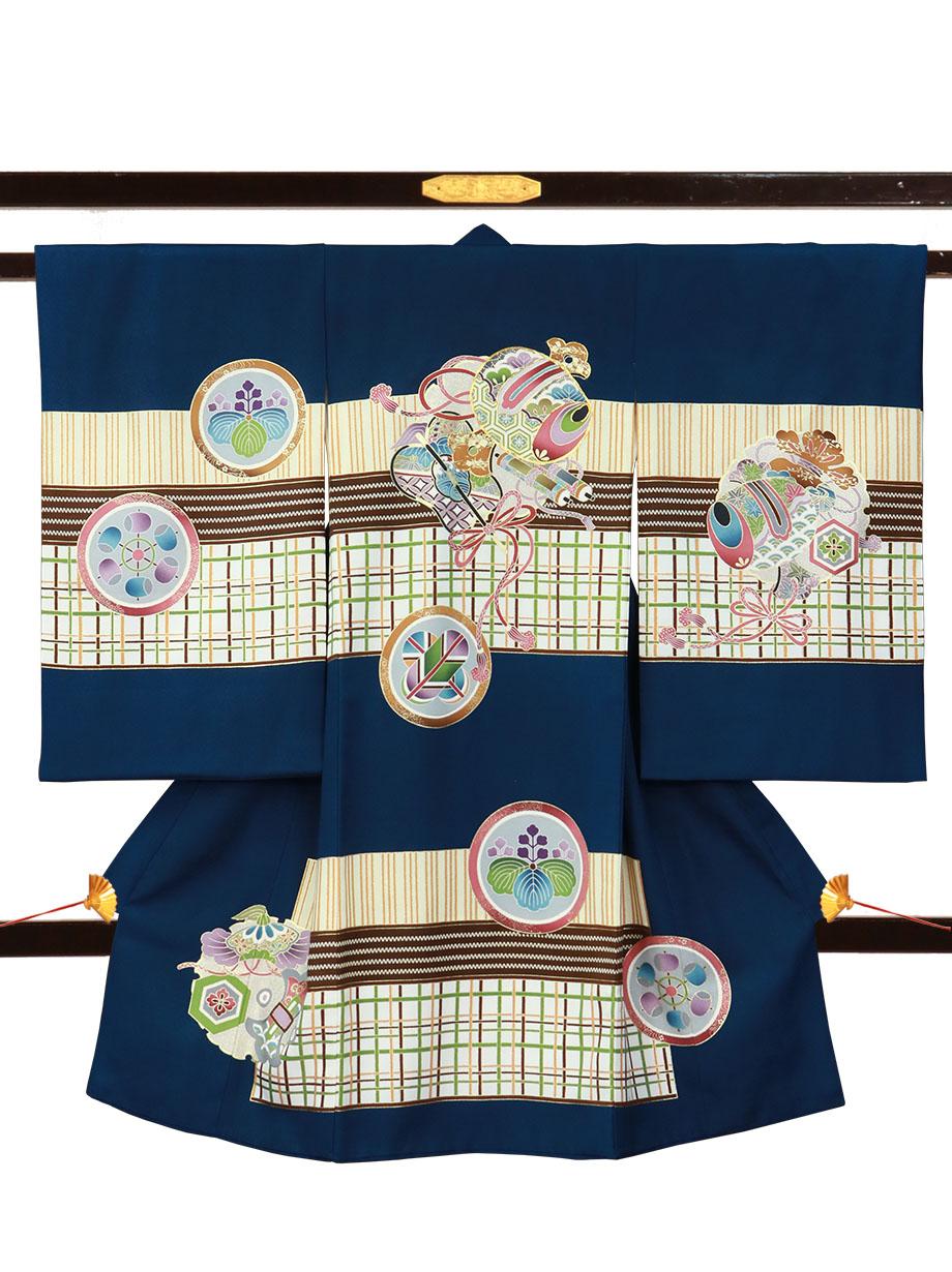 紺地に小槌と軍配、幾何学文様の祝い着(産着)/男児