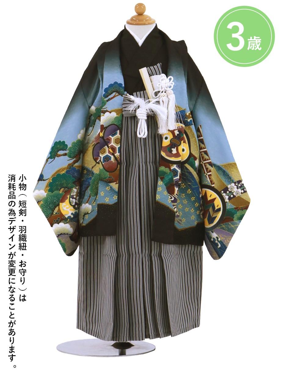 黒地に鷹と小槌 黒縞の袴/七五三・三歳男の子・袴