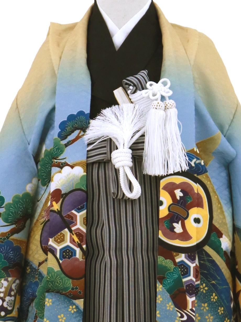 クリーム地に鷹と小槌 黒縞の袴/七五三・三歳男の子・袴