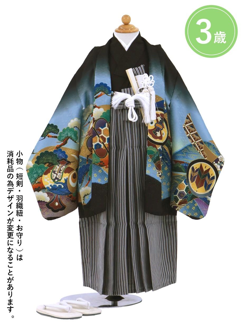黒地に兜と太鼓 黒縞の袴/七五三・三歳男の子・袴