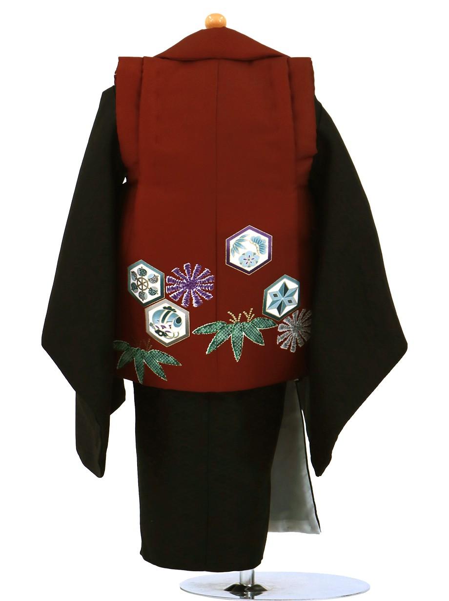 鷹と六角紋のエンジの被布コート・黒の着物セット/七五三・三歳男の子・被布コートセット