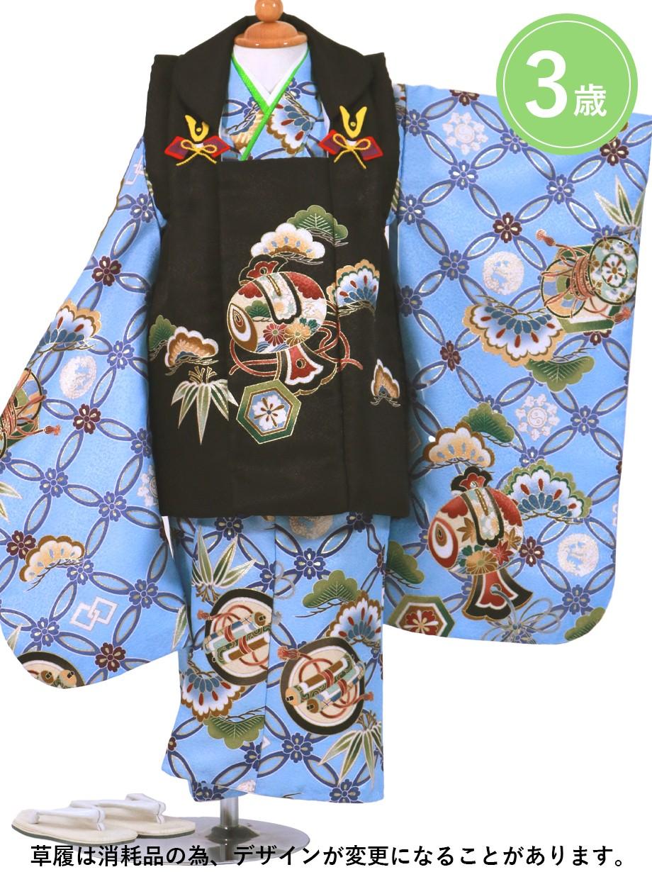 青地に七宝と巻物、小槌の被布コートセット/七五三・三歳男の子・被布コートセット