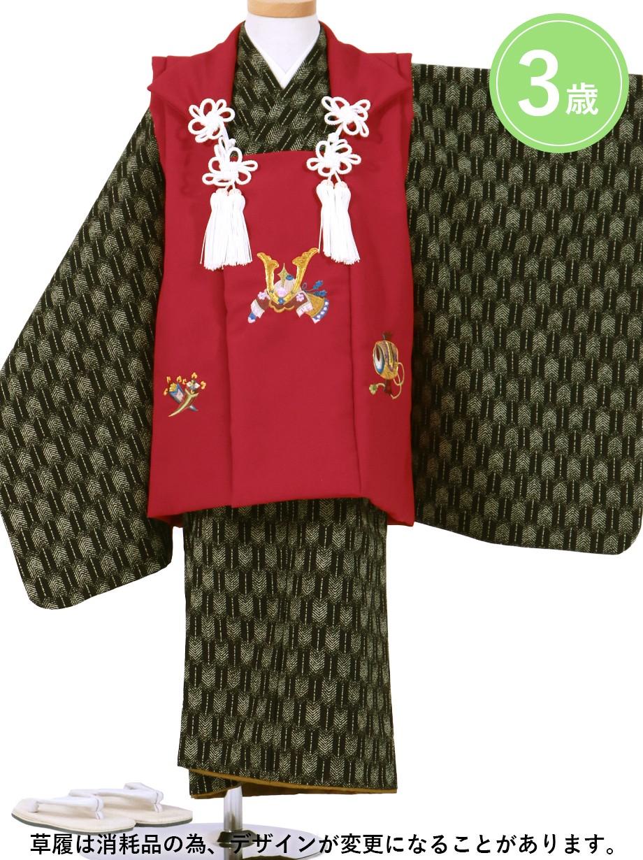 黒地に矢羽の着物、兜の赤の被布コートセット/七五三・三歳男の子・被布コートセット