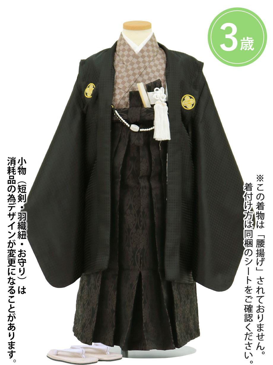 黒地に金の紋付、黒色の袴/七五三・三歳男の子・袴