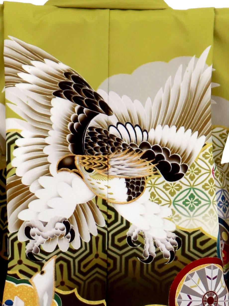抹茶地に鷹と丸紋、ベージュのグラデーションの袴/七五三・三歳男の子・袴