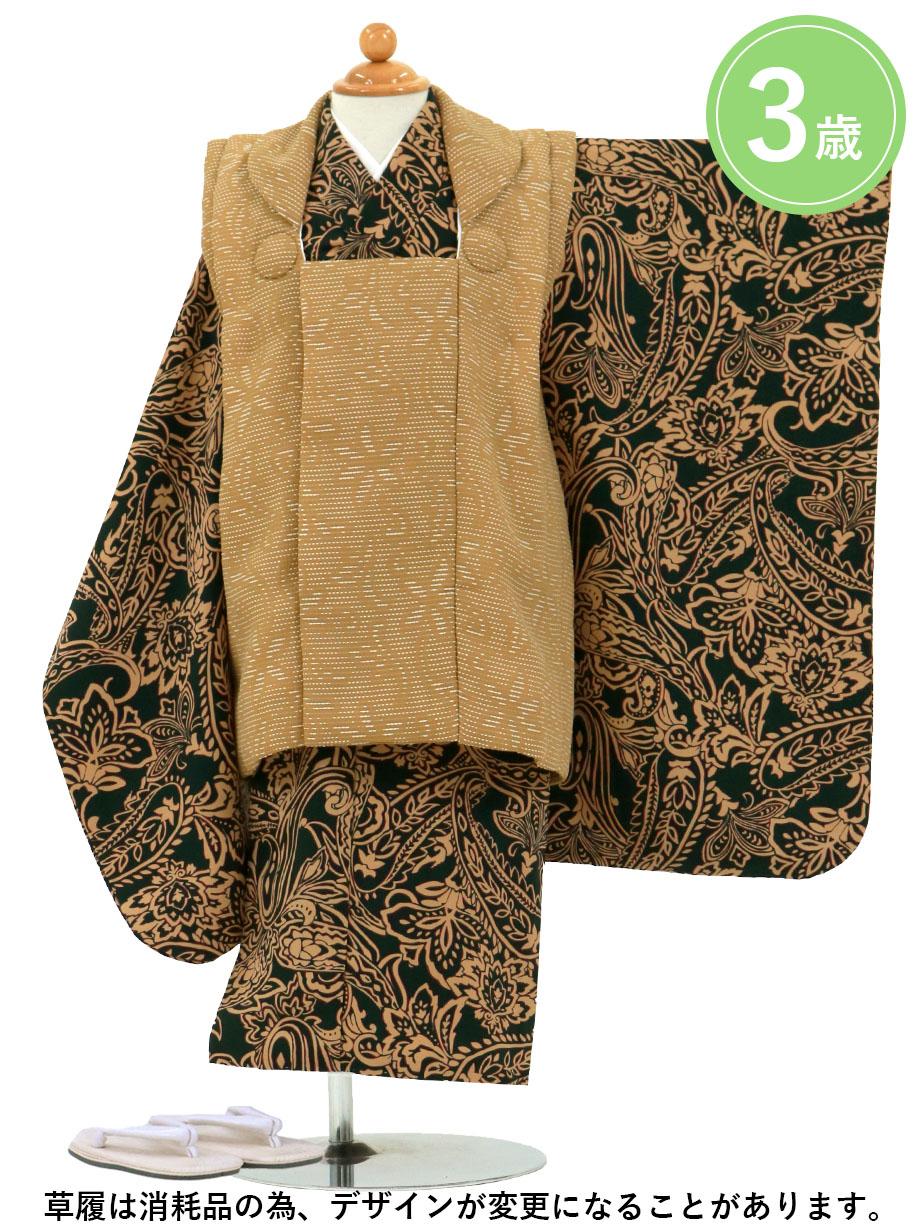 深緑地にペイズリー、キャメルの被布コートセット/七五三・三歳男の子・被布コートセット