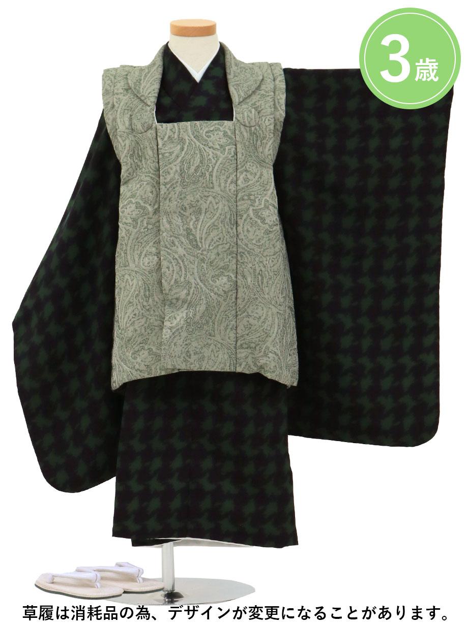 紺と緑の千鳥格子、薄緑の被布コートセット/七五三・三歳男の子・被布コートセット*