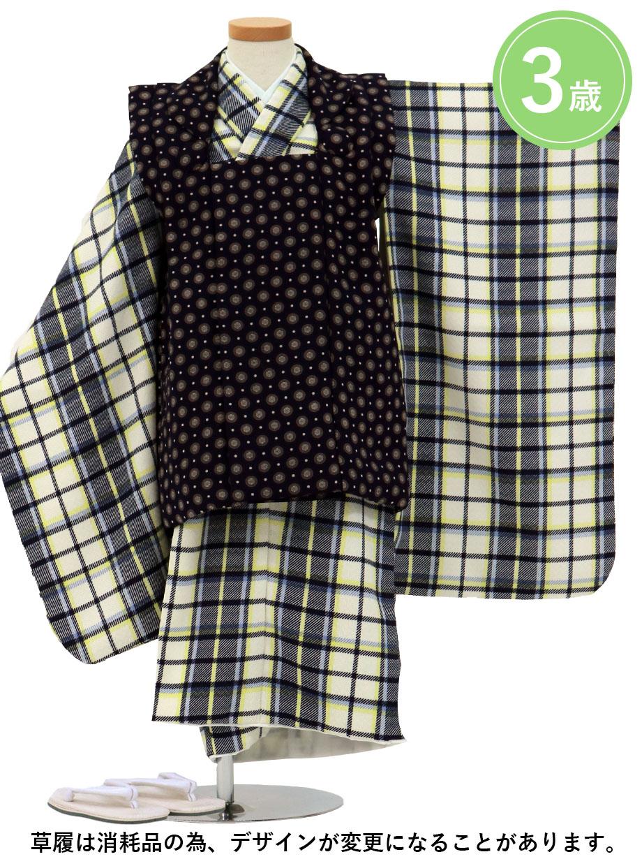 白のタータンチェック、紺色の被布コートセット/七五三・三歳男の子・被布コートセット