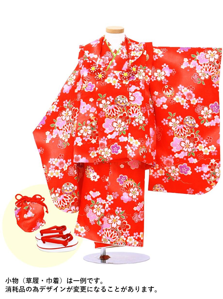赤地に鞠と桜の被布コートセット/七五三・三歳女の子