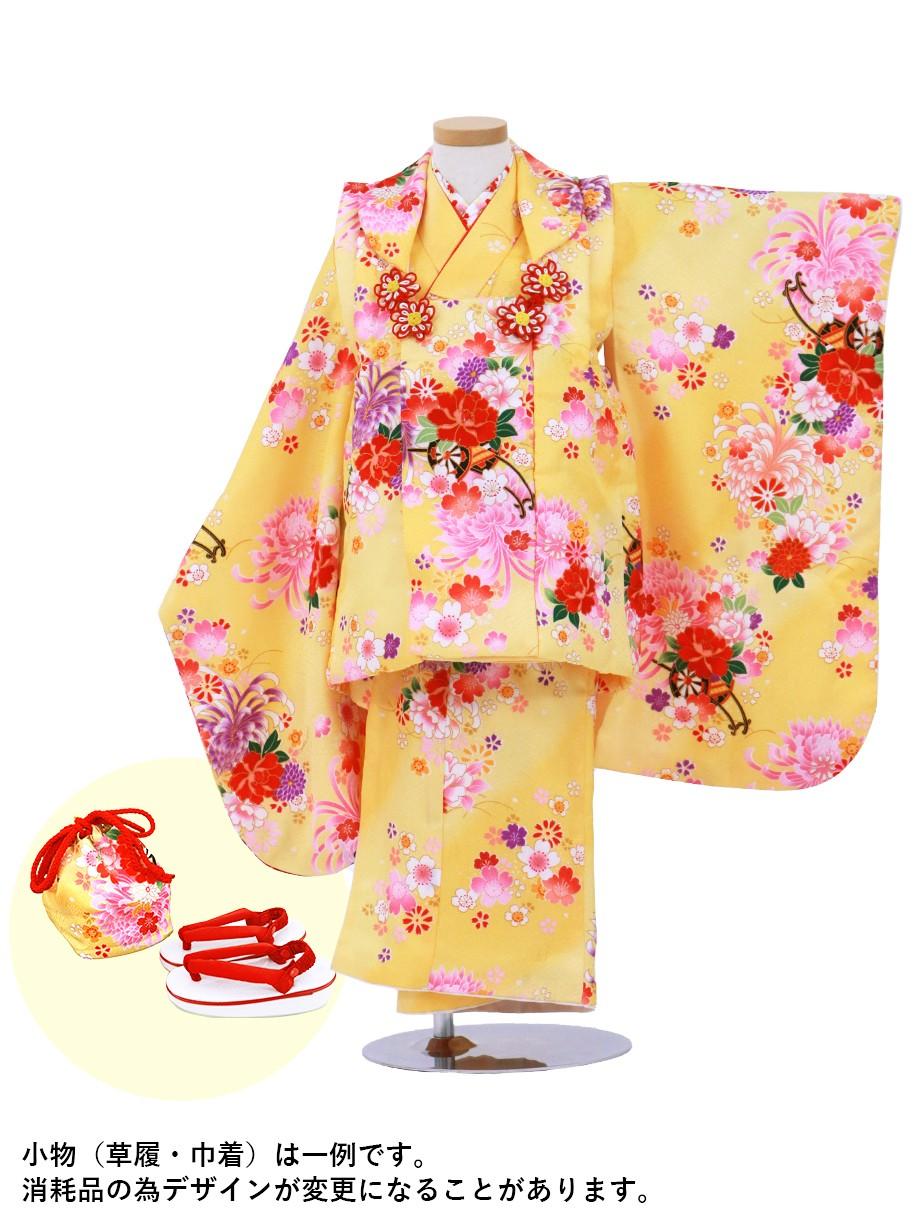 黄色地に乱菊の被布コートセット/七五三・三歳女の子