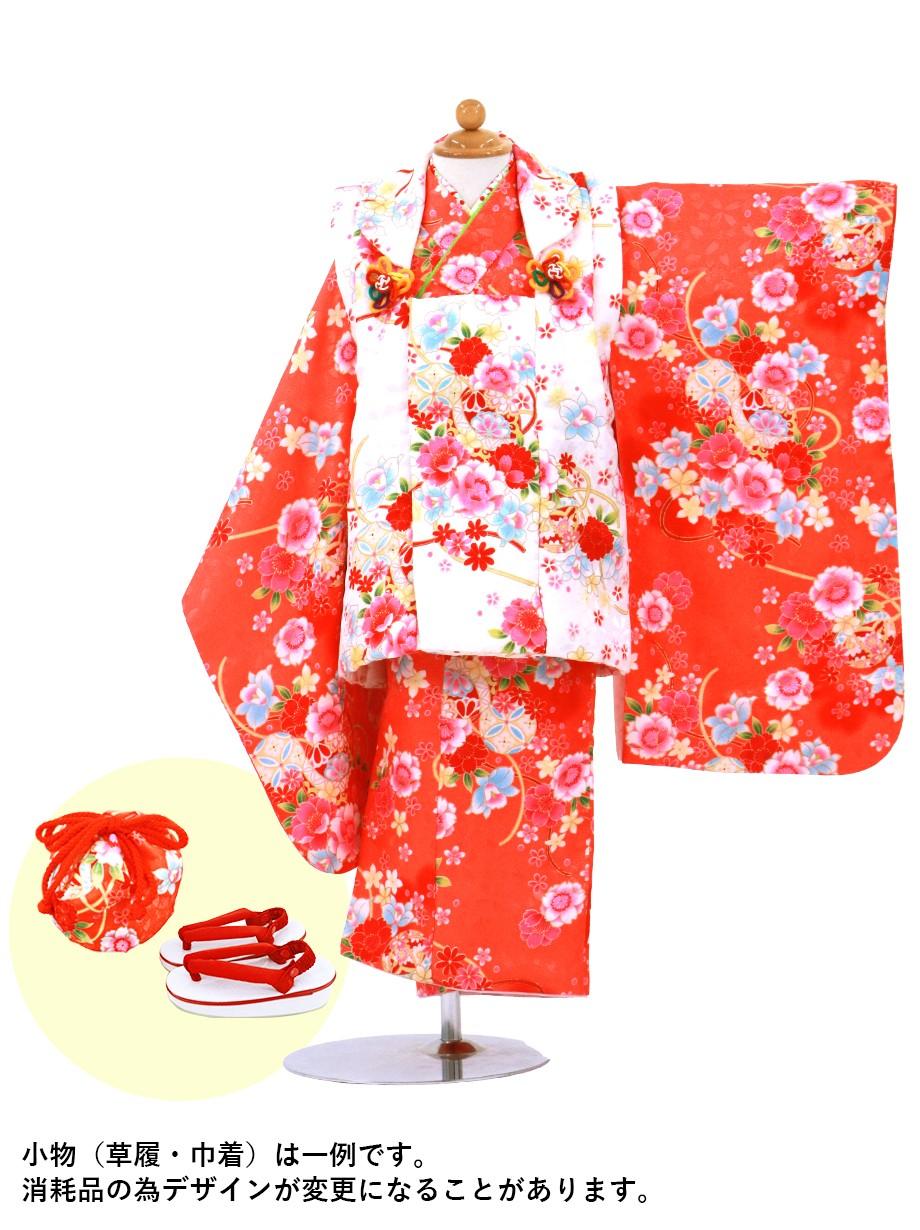 赤の桜柄の着物に白の被布コートセット/七五三・三歳女の子
