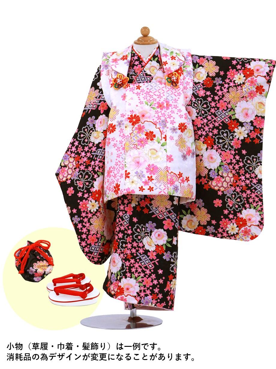 桜柄の黒地着物に白の被布コートセット/七五三・三歳女の子