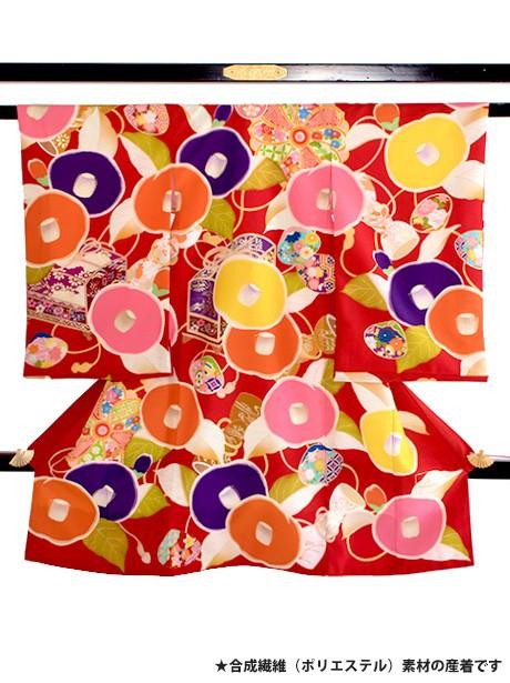 芸艸堂(UNSODO) 赤地に丸椿と文箱の祝い着(産着)/女児