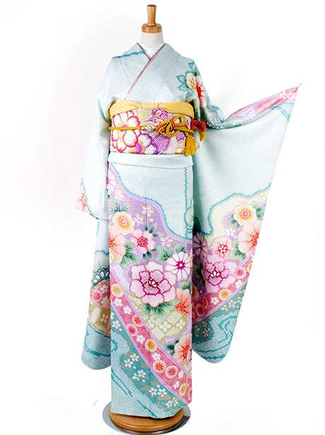 水色に松と菊に牡丹の振袖/総絞り風