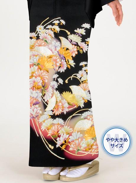菊と房紐の黒留袖/ワイドサイズ