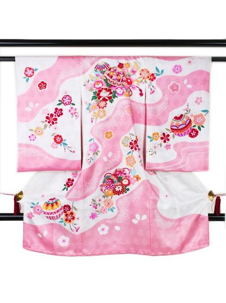 桃色と白の染め分けに鞠の祝い着(産着)/女児