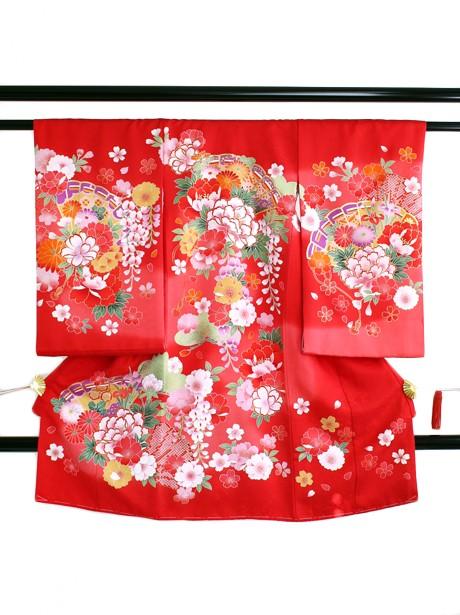 赤地に檜扇と牡丹の祝い着(産着)/女児