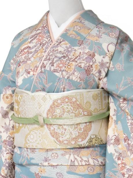 青地に京紅型風の訪問着(袷)