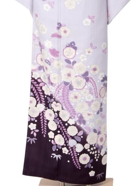 紫色に藤の訪問着(袷)(ポリエステル)