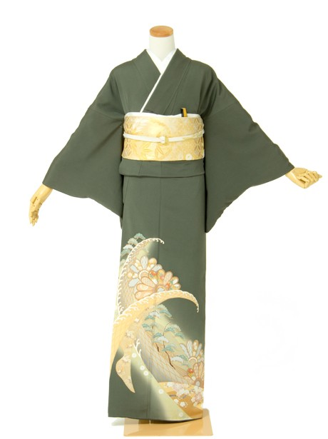 波頭と菊の色留袖