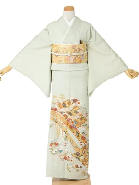 鶴に熨斗の色留袖