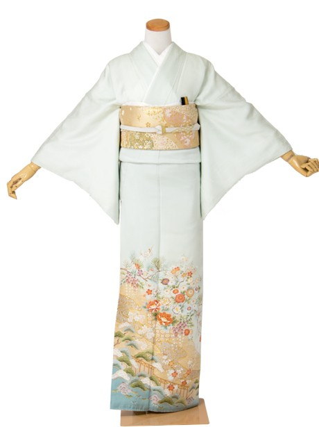 花かごに流水の色留袖/小さめサイズ