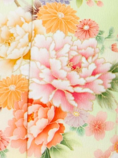 牡丹に桜の訪問着(袷)(ポリエステル)