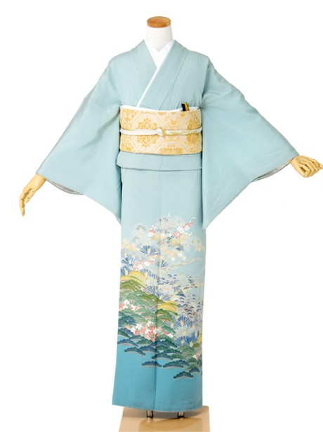 水色地に茶屋辻文様と松の色留袖