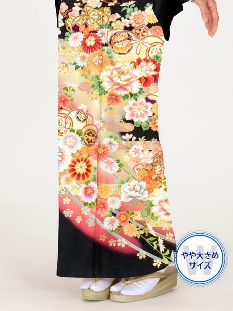 エ霞に橘と宝尽しの黒留袖/大きめサイズ