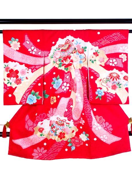 赤地に鈴と熨斗に染め疋田の祝い着(産着)/女児