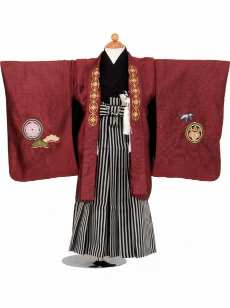 赤地に兜 黒縞の袴/七五三・三歳男の子・袴